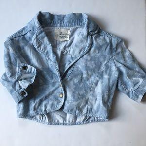 Forever 21 Boutique Acid Wash Denim Half Jacket